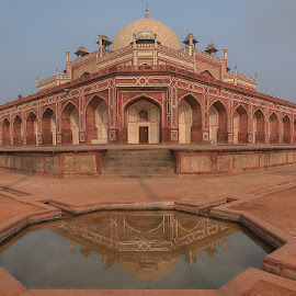 Humayun's Tomb - Reflected View by Manabendra Dey - Buildings & Architecture Public & Historical ( old, reflection, tomb, india, architecture, humayun, delhi )