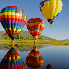 Reflections in the Sky by Debbie Hunt - Uncategorized All Uncategorized ( water, hot air balloon, colors, reflections, transportation )