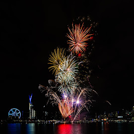 Docklands Fireworks by Allan Williams - Abstract Fire & Fireworks ( #docklandsfireworks #fireworks #melbourne #visitvictoria #docklands )