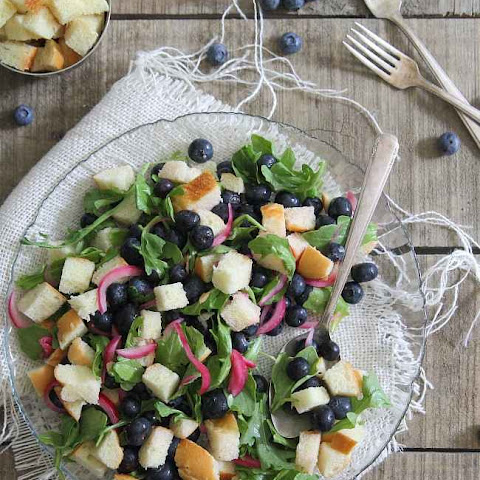 Pickled Blueberry Panzanella Salad