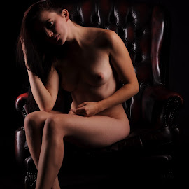 Hiding in her Own Shadow by DJ Cockburn - Nudes & Boudoir Artistic Nude ( chair, reclining, art nude, sitting, woman, naked, helen diaz, curves, shadows )