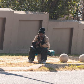 The Thinker by Eric Klein - People Street & Candids ( think, chilling, contemplation, homeless, street, candid )