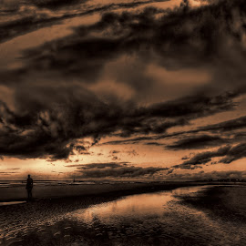 Another place at sunset  by John Wain - Digital Art Places ( port of liverpool, photos of liverpool, liverpool merseyside, liverpool skyline, another place, digital art, crosby iron man, crosby beach, liverpool seascape, crosby iron men, anthony gormley )