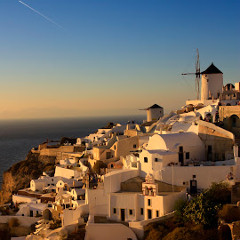 Golden Sunset by Partha Das - Buildings & Architecture Homes ( sunset, oia, santorini )
