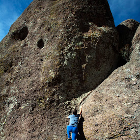 Climbing the big rock by Cristobal Garciaferro Rubio - Nature Up Close Rock & Stone ( climbing, big rock, rock, rocks, boy, kid )