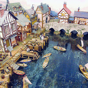 Model village in Victoria Miniature World by Dee Haun - Artistic Objects Toys ( miniature world, old, seaport, canada, toy, model village, artistic, victoria, artistic objects,  )
