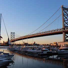 Philly Sunrise by Jacqueline Christine - City,  Street & Park  Skylines ( water, philly, bridge, sunrise, boat )