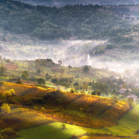 Dream Land by Tamas Valentin - Landscapes Mountains & Hills ( hills, nature, village, fogg, morning, landscape, mist )