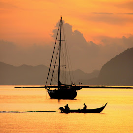Sunset in Langkawi by Pearl Gan - Transportation Boats ( boat; transportation; sunset;sunrise;beautiful )