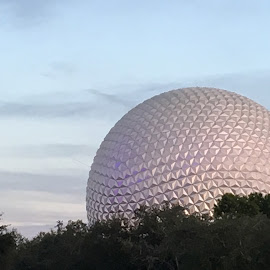 Spaceship Earth against a Could Sky by Kristine Nicholas - Novices Only Landscapes ( clouds, sky, tree, disney world, cloud, cloudy, trees, epcot, landscape, landscapes, disney )