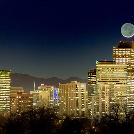 Moonset in Denver by Noah Gallagher - City,  Street & Park  Skylines ( mountains, moonset, moon, skyline, park, denver, night, city )