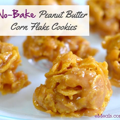 No-Bake Peanut Butter Corn Flake Cookies