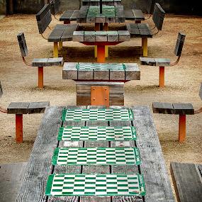 Santa Monica Chess Tables by T Sco - City,  Street & Park  Neighborhoods ( checkers, california, neighborhood, chess, game, table )