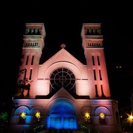 DePaul University by Sue Conwell - Buildings & Architecture Places of Worship ( lights, church, depaul university, student display, chicago, depaul )