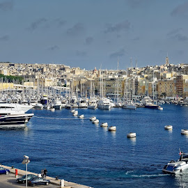 Central port Valletta, Malta by Michaela Firešová - City,  Street & Park  Historic Districts ( panorama, historic district, valletta, city, port, malta, boats )