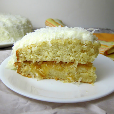 Coconut Cake with Pineapple Jam Filling