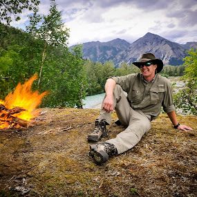 Relaxing by the Camfire by Kevin Beasley - People Portraits of Men ( outdoor, national park, camping, nature, alaska, recreation, hiking, river, kijik, lake clark, lake,  )