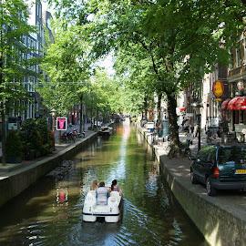 Amsterdam by Ester Ayerdi - City,  Street & Park  Neighborhoods ( street, neighborhood, amsterdam, boat, nederlands, street scenes, canal, street photography )