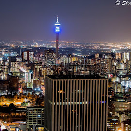 Jhb @night  by Ed Young - Buildings & Architecture Office Buildings & Hotels