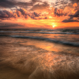 Flowing Sunrise by Brad Bellisle - Landscapes Waterscapes ( lake michigan, hdr, long exposure, flow, sunrise )