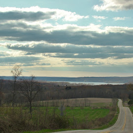Reservoir by Gerard Zarella - Landscapes Travel ( reservoir, farmland, road, spring )