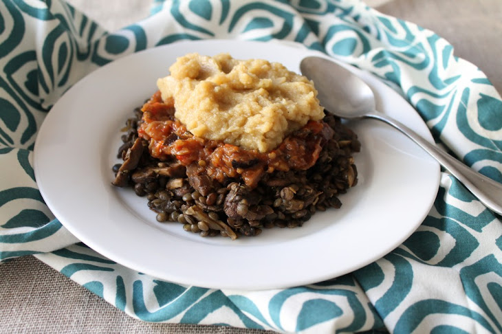 ... with Roasted Eggplant & Red Pepper Caponata and Mashed Cauliflower