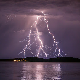 triangle lightning by Jernej Lipovec - Landscapes Weather ( thunder, exposure, reflection, adriatic, thunderstorm, waterscape, croatia, sea, landscape, storm, jadran, sony, lightning, šibenik, night )