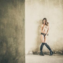 *Katja / Wall 2* by Mika Leinonen - Nudes & Boudoir Artistic Nude ( pose, nude, beauty, wall )