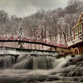 Winter falls by Ann Oliver - Landscapes Waterscapes ( oliver, winter falls, christmas scene, falls, marcellus )