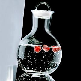 Carafe with raspberries by Kjeld Olsen - Food & Drink Alcohol & Drinks ( water, carafe, fine art, glass, raspberries )