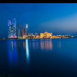 Tilt Panorama of the Emirates Palace by Irfan Tayab - Buildings & Architecture Office Buildings & Hotels ( blue, royal, emiratespalace, abudhabi, emirates palace, abu dhabi, architecture, hotels )