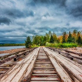Cross If You Dare by Trevor Pottelberg - Buildings & Architecture Bridges & Suspended Structures ( scenic photographer, wood, landscape, storm, rustic, spring, photography, mountains, pine tree, t.pottelberg, trip, rocks, rain, clouds, ominous, rotten, canada, t.pottelberg scenics, scenic, northern, quebec, trevor pottelberg, northern ontario, ottawa river, bridge, river, abandoned )