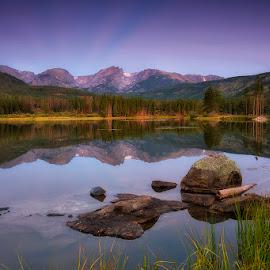 Twilight's Calm by Ken Smith - Landscapes Travel ( sunrise, rmnp, sprague lake, landscape )