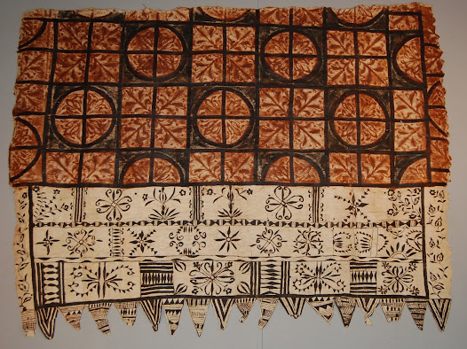 <b>Rubbing and overpainting</b>  Pattern tablets are placed under the cloth, and then pigment is rubbed over the surface to bring out the designs.  Sometimes the designs are then outlined with paint.