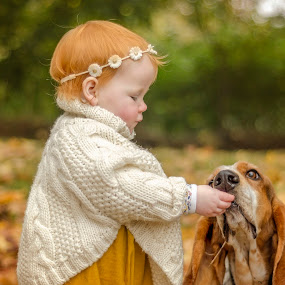 Little miss Eadie and Gus by Tami Carlile - Babies & Children Children Candids ( colour, sharing, autumn, beautiful, bestfriends, baby girl, basset hound, dog,  )