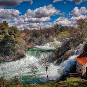 Krka Waterfalls by Branko Meic-Sidic - Landscapes Waterscapes ( clouds, sky, waterfalls, hdr, dramatic, šibenik, krka, nationalpark, meicsidic )