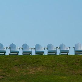 Chairs Await by Ron Kreml - Artistic Objects Furniture ( simplicity, pattern, chairs, sea, ocean, beach, block_island )