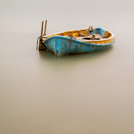A Boat At Beach Haven by Anupam Hatui - Transportation Boats ( mood, long exposure, boat, objects )