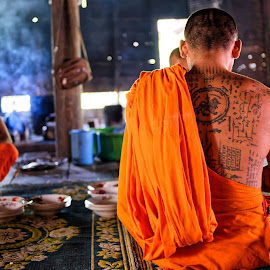 Lunch by Claus Dahm - People Body Art/Tattoos ( buddhism, monks, food, tattoos, kitchen, cambodia, , Buddhism )