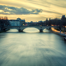 Blue Hour by Mikey Bibi - City,  Street & Park  Skylines ( lights, paris, seine, bridge, boat, river )