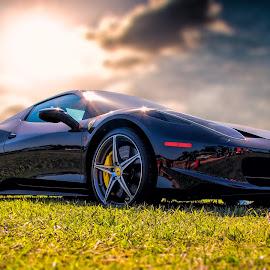 Ferrari 458 Italia by Apollo Reyes - Transportation Automobiles ( car, clouds, blue, green, auto, fields )