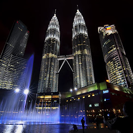 KLCC at night. by SweeMing YOUNG - City,  Street & Park  Fountains