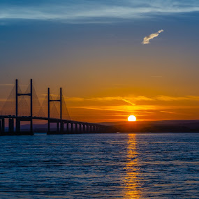 Sundown by James Booth - Landscapes Waterscapes ( waterscape, sunset, bridge, water, sea )