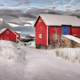 Red, white and blue by Jan Helge - Buildings & Architecture Other Exteriors ( water, sky, red, blue, snow, norway )