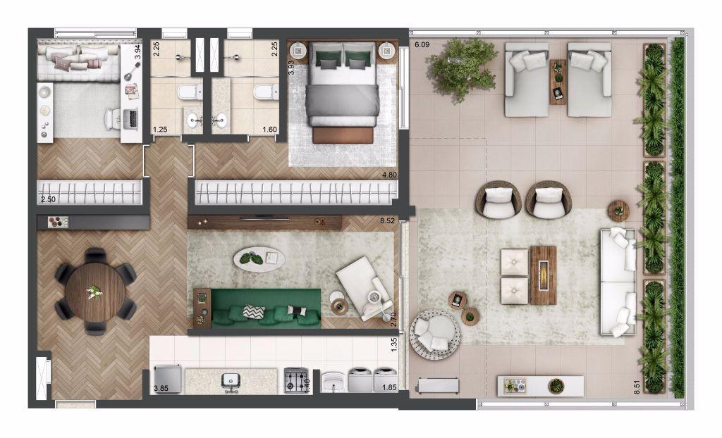 Planta Tipo - 136 m²
