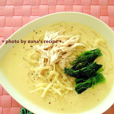 Udon Noodle Soup with Chicken Tender, Soy Milk & Cheese