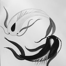 Ocean and moon spirit fish by Laurel Kent - Painting All Painting ( the last airbender, avatar, yin yang )