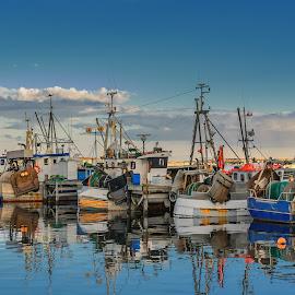 Day off by Jørgen Schei - Transportation Boats ( utgårdkilen, reflection, fisher boats, boats, harbour, sea, landscape )