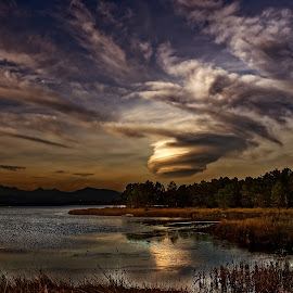 Corsica by Joseph Balson - Landscapes Cloud Formations ( clouds, sky, corsica, cloud, lake, landscape )