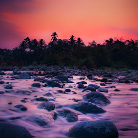 river long slowspeed by Rahmad Himawan - Landscapes Waterscapes ( nature, sunset, slow speed, river )